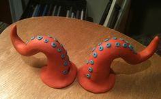 Tentacle Horns - Coral and Ocean Blue Polymer - Mermaid Monster Fairy. $13.00, via Etsy.