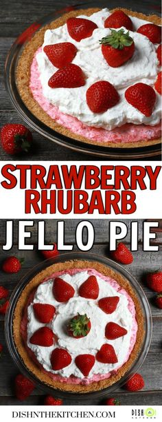 In Grandma's Rhubarb Strawberry Pie, rhubarb and strawberries combine with cream to make this no bake cool and creamy dessert in a graham crumb crust. It won't take long before this vintage recipe becomes a family favourite!  #pie #nobakedessert #jellopie #strawberryrhubarb #vintagepie