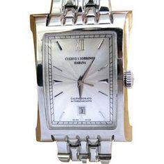 Cuervo y Sobrinos Esplendidos Stainless Steel Men's Watch in Luxury Burl Box found at www.rubylane.com @rubylanecom