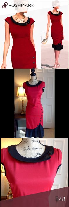 """NWT Red Retro Mermaid Wiggle Vintage Style Dress Gorgeous NWT lipstick red dress.  Style is Retro, Mermaid, Pinup, wiggle, and vintage.  Stretchy material.  Very elegant yet sexy.  Has black buttons along the hips to show odd your curves.  Measurements are from item laying flat.  Large size: Bust 18"""", length 40"""", Waist 15.5"""".  XL Size: Bust 19"""", Length 41"""", Waist 17"""".  From a smoke free home. Oxiuli Fashion  Dresses"""