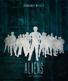 Aliens Minimalist Movie Poster Print, James Cameron, Home Decor, Print Art Poster