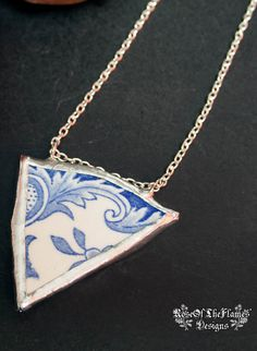Pottery shard jewelry. Belgium pottery. Broken china jewelry. Vintage necklace. Soldered pendant. One of a kind. Blue and white porcelain