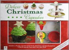 Includes a 48 page cupcake recipe book, Christmas cupcake decorations, 4 silicon cupcake trays and 3 tier cake stand. £14.99