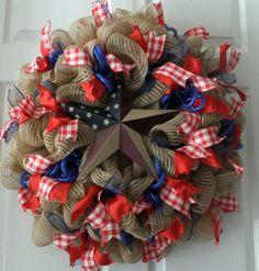 Celebrate America Wreath, Memorial Day Deco Mesh Wreath, Fourth of