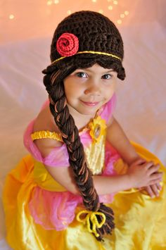 Crochet Patterns Beanie Disney Princess Belle inspired crochet beanie hat by JazzyOcrochet Crochet Kids Hats, Crochet Beanie Hat, Crochet Yarn, Knitted Hats, Crochet Wigs, Crochet Princess, Princess Hat, Princess Belle, Disney Princess
