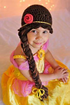 Disney Princess Belle inspired crochet beanie hat by JazzyOcrochet