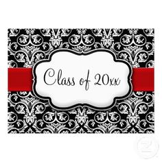 Personalized Black/White Damask Red Ribbon Graduation Announcements/ Party Invites