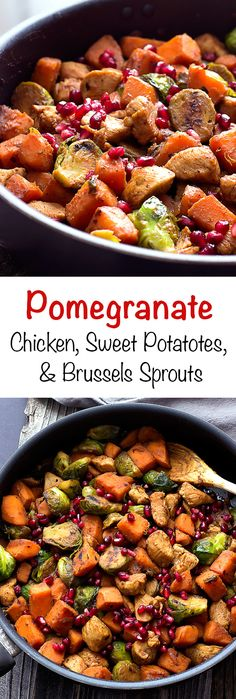 #ad Pomegranate Chicken with Sweet Potatoes and Brussels Sprouts - #JuiceCentral @JuiceCentral