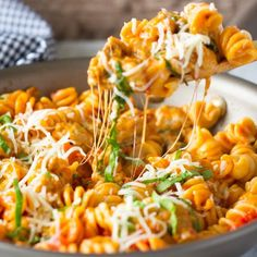 Spicy Sausage and Spinach Skillet Pasta- Super easy one pot dinner idea.