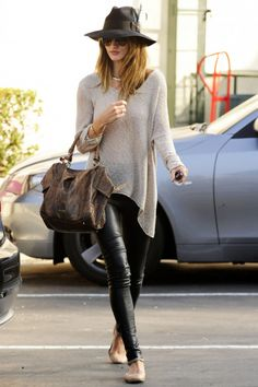 leather leggings + slouchy sweater + cool hat & flats