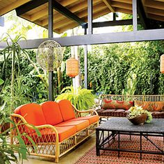 """""""Ikea and Pier 1 are my kind of stores,"""" says Brooke Dietrich of her Bali-inspired patio"""