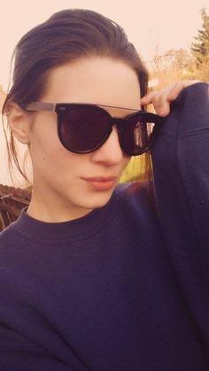 "- Gorgeous !!! Model Carolina Hulitz '' Caro Hu '' @ Promod Model Agency wears sunglasses Anderne "" Against All Odds ''  Black mirrored lenses ! — in Frankfurt, Germany."