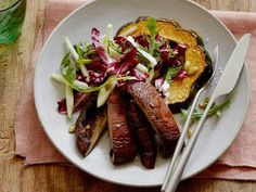 Roasted Acorn Squash and Portobello Mushroom Salad with Radicchio, Apples and Pumpkin Seeds