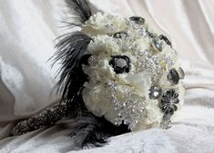 White Carnations with black and white jewels