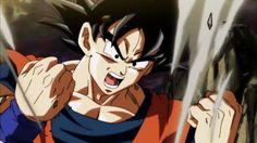 Goku powers up to Super Saiyan Blue