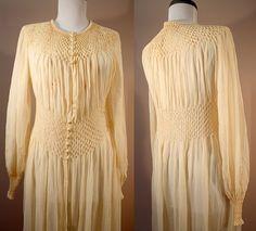 30s / 40s Silk Robe: Fine Smocked Georgette Dressing Gown M L