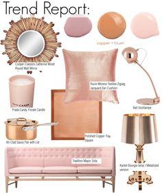 Home Decor Trend Report: Copper + Blush Copper Blush, Copper And Pink, Pink And Gold, Rose Gold, Gold Rooms, Gold Bedroom, Bedroom Decor, Deco Rose, Blush And Grey