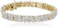 18k Yellow Gold over Sterling Silver Diamond Hearts Bracelet 110cttw IJ Color I2I3 Clarity 725 * Continue to the product at the image link-affiliate link. #Bracelet