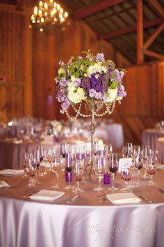 Allyson Magda Photography, purple wedding decor, flowers, ribbon