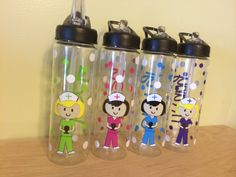 Personalized Clear plastic sport water bottle, Flip top w/ straw, 24 oz size - Cute Nurse, RN, or Dental hygienist, graduation gift