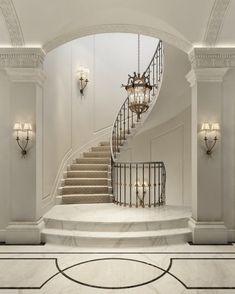 A staircase can be so much more than a structure that allows you to move between. A staircase can Luxury Staircase, Foyer Staircase, Curved Staircase, Spiral Staircases, Winding Staircase, Escalier Design, Plafond Design, Stair Railing Design, Home Stairs Design