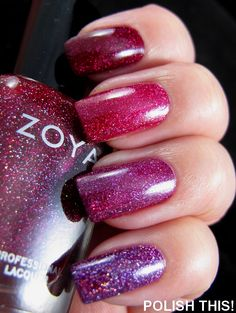 From index to pinky: Zoya Payton, Orly Miss Conduct, OPI DS Extravagance, and Zoya Aurora.