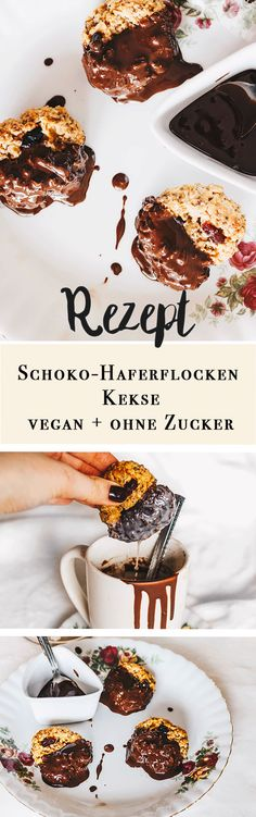 Vegane Schoko – Haferflockenkekse selber machen 15 minutes Vegan chocolate oatmeal biscuits without industrial sugar Vegan Sweets, Sweets Recipes, Healthy Desserts, Cookie Recipes, Snack Recipes, Vegan Food, Baking Desserts, Chocolate Oatmeal Cookies, Vegan Chocolate