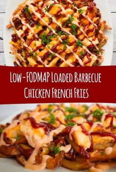 A twist on a Southern favorite these low-FODMAP Loaded Barbecue Chicken French Fries are sweet savory and salty. They have the perfect combination of crispy and greasy and are so good. Sin Gluten, Gluten Free, Barbecue Chicken, Bbq, Healthy Meals For Kids, Healthy Recipes, Vegetarian Recipes, Healthy Food, Fodmap Recipes