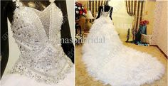 Wholesale Wedding Dresses - Buy 2013 New Arrival Fashion Style Empire Swarovski Crystal Feather Long Cathedral Train Wedding Dresses, $651.14 | DHgate