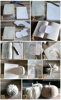 How to make DIY paper book pumpkins for a creative table place setting or to use as Halloween or Thanksgiving decor. How to make DIY paper book pumpkins for a creative table place setting or to use as Halloween or Thanksgiving decor. Folded Book Art, Paper Book, Book Folding, Diy Pumpkin, Pumpkin Crafts, Fall Crafts, Paper Pumpkin, Harvest Crafts, Pumpkin Ideas