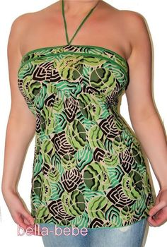 SEXY GREEN PRINT COTTON LINED GOLD EMBELISHED STITCH HALTER TOP BOHO HIPSTER TOP #LUCCI #Halter #Casual