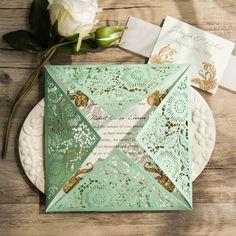 elegant mint green laser cut wedding invitations EWWS116