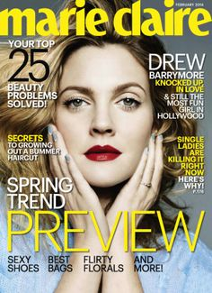 Drew Barrymore - Marie Claire Magazine Cover [United States] (February 2014)