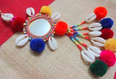 Your place to buy and sell all things handmade Fabric Jewelry, Beaded Jewelry, Diy Diwali Decorations, Diwali Diy, Handmade Jewelry Designs, Mirror Work, Work Blouse, Lucky Charm, Pom Poms