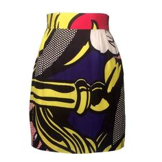 Moschino Chic 1990s Lichenstein Comic Print Mini Skirt 1
