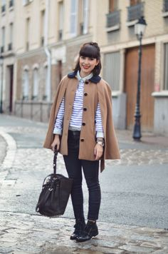 hairstyle, fringe, half up hair, stripes, jeans, cape coat, winter, autumn, style