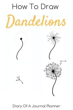 Find out how to draw a dandelion. We love flower doodles and the dandelion doodle is a simple drawing to try. Find out how to draw a dandelion. We love flower doodles and the dandelion doodle is a simple drawing to try. Dandelion Drawing, Flower Art Drawing, Flower Drawing Tutorials, Drawing Ideas, Drawing Tips, Dandelion Art, Drawing Art, Flower Tutorial, Simple Flower Drawing