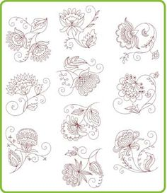 Jacobean redwork patterns -