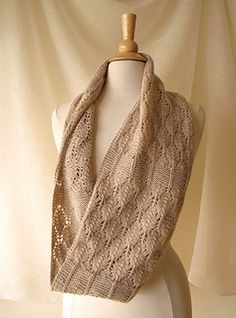Birchleaf is a texture-and-lace infinity cowl. It's knit flat from a provisional cast-on; after blocking, the two ends are joined with a three-needle bind-off.