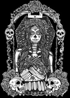 Day of the Dead Black and White Gothic Art   Sugar by Pajamasquid, $40.00