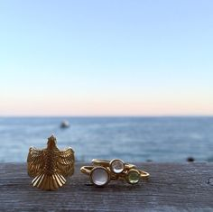 Ibiza sunset last night taking flight now back to london wearing these news rings loving the falcon and stacking up the cabochon rings. #ibiza #zoeandmorgan #inspiration #travel