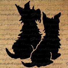 Scottie Dogs Silhouette Puppy Dog Digital Image Download Transfer To Pillows Tote Tea Towels Burlap No. 2072
