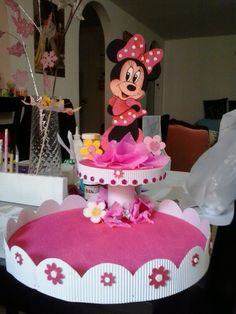 Also tag your friends leave your comments. Also invite your friends this page. Minnie Mouse Party Decorations, Girl Birthday Decorations, Birthday Party Centerpieces, Mouse Parties, Minnie Cake, Mickey Cakes, Cake And Cupcake Stand, Cupcake Party, Mickey Mouse And Friends