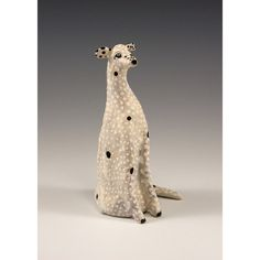 Claude  Ceramic Sculpted Black Spotted White Dog by by jennymendes