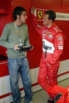 Valentino Rossi with Michael Schumacher, Ferrari – Motorcycles Ideas Motogp Valentino Rossi, Valentino Rossi 46, Michael Schumacher, Custom Motorcycles, Custom Baggers, Gp Moto, Ferrari F1, F1 Drivers, F1 Racing