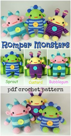 Super cute crochet pattern for these little monster toys. I love their adorable button bellies! Cute crochet amigurumi dolls! #etsy #ad #pdf #pattern #mojimojidesign