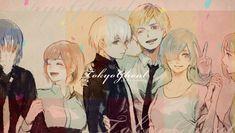 Mds do céu que perfeito - Ayato,Hinami,Kaneki,Hide,Touka (vulgo rainha) e Yoriko(quer dizer acho que é a Yoriko) - Tokyo Ghoul