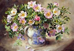 Briar Roses - Limited Edition Print | Mill House Fine Art – Publishers of Anne Cotterill Flower Art