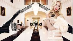 New Spelling Mansion Owner, Petra Ecclestone remodels the foyer with Black and white striped floors... Candace Spelling must be rolling her eyes!