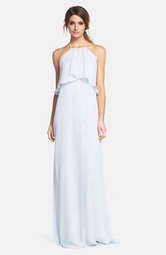 Free shipping and returns on nouvelle AMSALE 'Cait' Chiffon Halter Gown at Nordstrom.com. Flowing swaths of fabric overlay the cutaway bodice to enhance the ethereal look of this airy chiffon halter gown. The fluid column silhouette pools gently at the floor for a dreamy and romantic finish.
